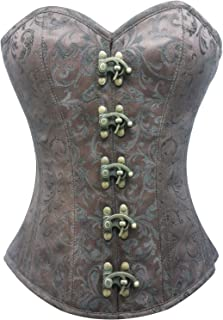 Brown Brocade Seal Lock Steampunk Period Costume Waist Training Overbust Corset