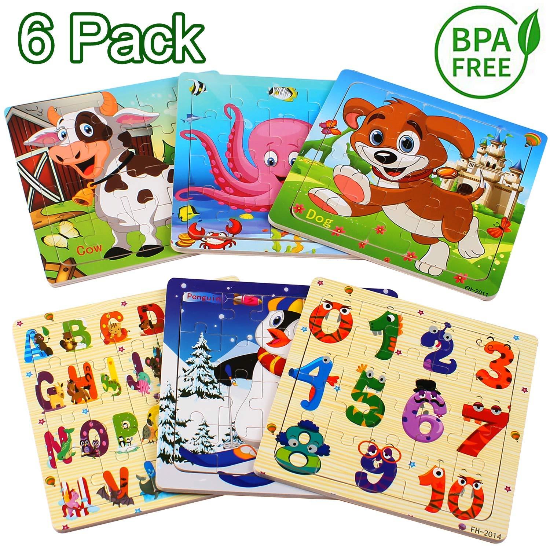 Puzzle madera niños, 20 piezas rompecabezas madera bebe, include animales, numeros, letras, regalo para niños(6 paquetes, 20 piezas): Amazon.es: Juguetes y juegos