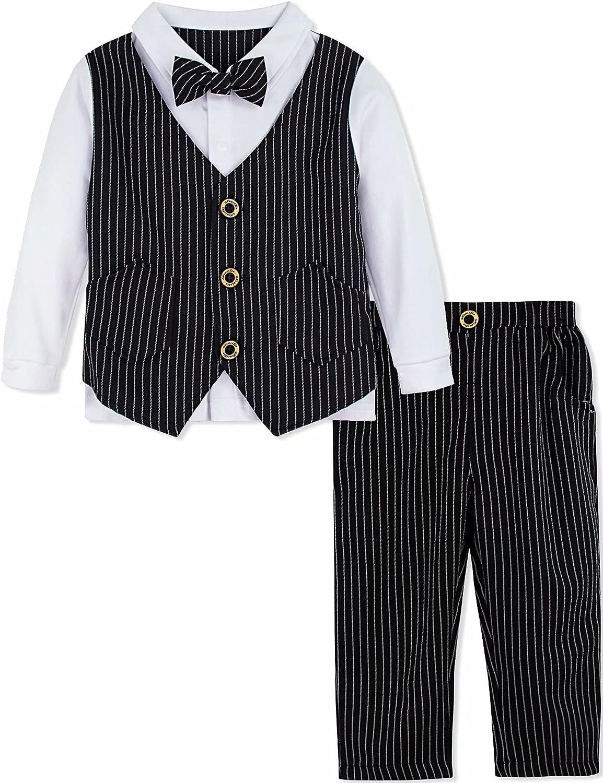 New popularity AJ DESIGN Baby Toddler Gentleman Suit Vest Cheap SALE Start Tie Ou Boys Fake Bow