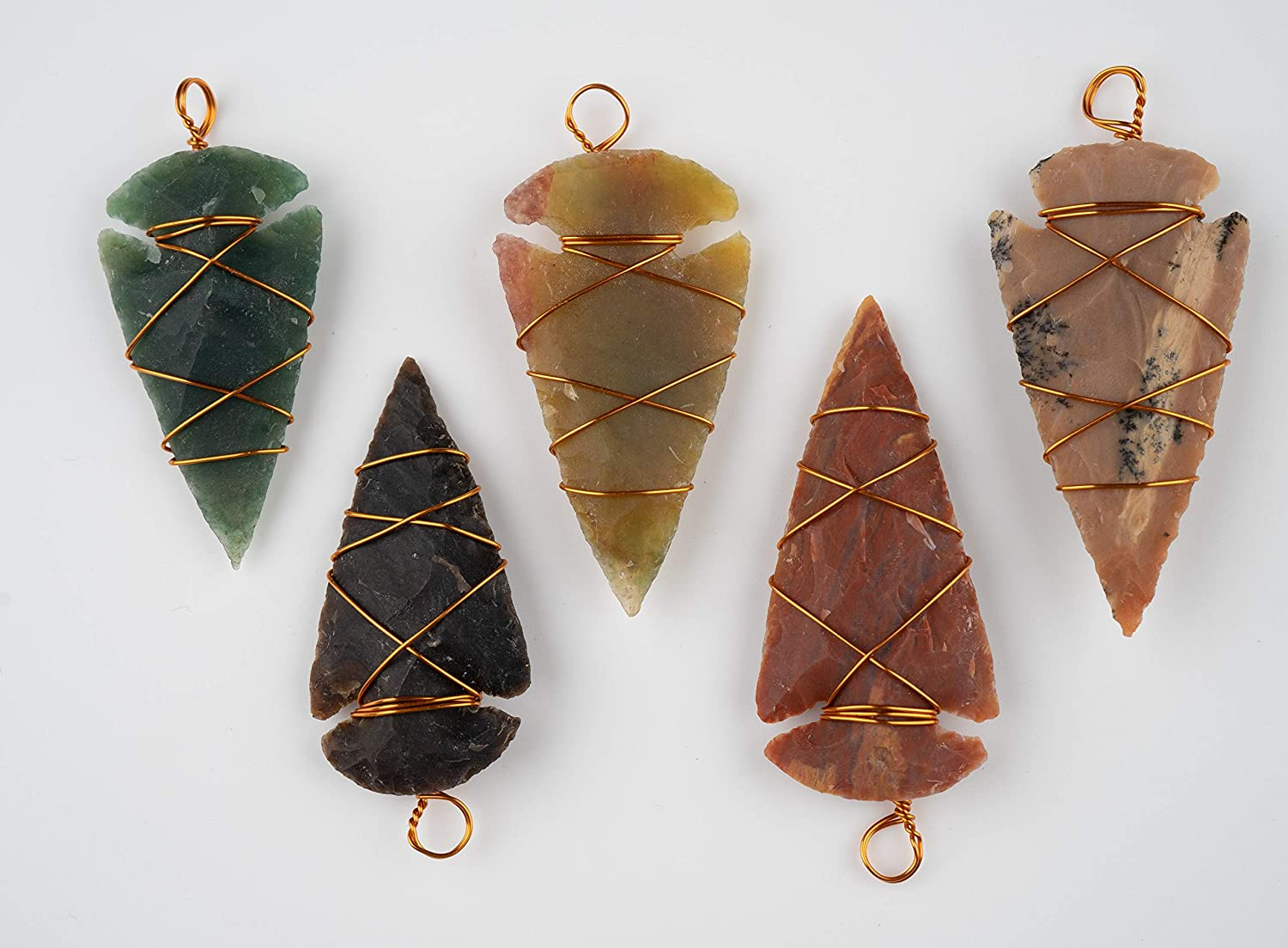 KVK Crystals Stone Arrowhead Pendant Wrapped in Copper Wire 2 inch