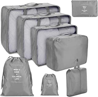 8 PCS Organizadores de Viaje para Maletas, Bolsas de Equipaje Impermeable Cubos Embalaje de Viaje Bolsas de Almacenamiento...