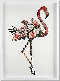 ADM - Flamenco con flores - Cuadro con efecto 3D realizado con técnica de collage, enmarcado y protegido por un cristal fr...