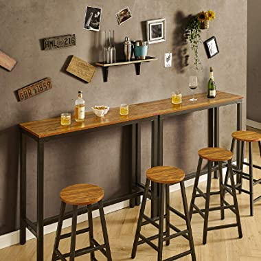 """Mr IRONSTONE Bar Table, 47"""" Rectangular Kitchen Pub Dining Coffee Table High Writing Computer Table, for Narrow Space, Living"""