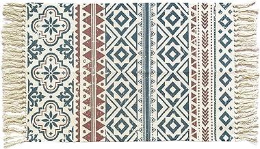 Ukeler Cotton Printed Kilim Porch Rugs Boho Entryway Thin Throw Rug Hand Woven Washable Outdoor Doormats 2'×3'