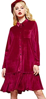 Elf Sack Women Velvet Dress, Long Sleeve Swing Cocktail Party Dress, Hooed Sweatshirt Dress with Ruffle Hem