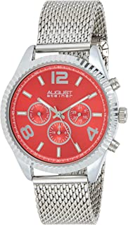 August Steiner Men's Red Dial Stainless Steel Band Watch - AS8196RD