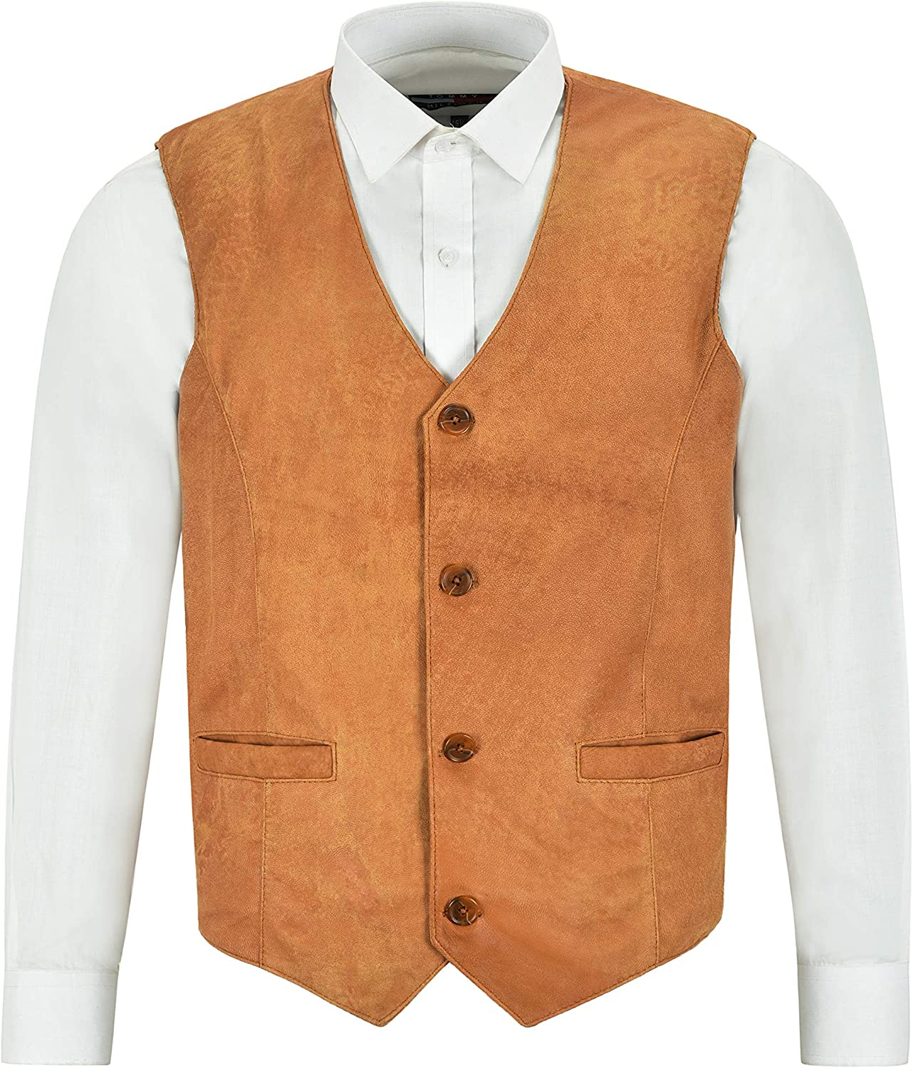 Men's Leather Waistcoat Tan Buff Party Fashion Stylish Real Leather Vest 5226
