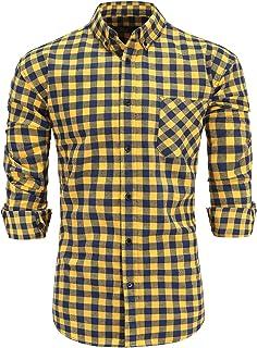 Emiqude Men's Slim Fit Flannel Cotton Long Sleeve Casual Button Down Plaid Dress Shirt