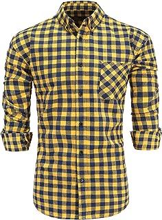 Men's 100% Cotton Slim Fit Long Sleeve Button Down Flannel Plaid Dress Shirt