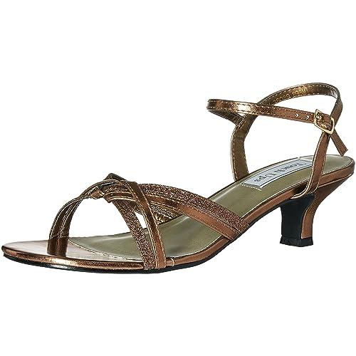 8987a2213a5c David s Bridal Melanie Metallic Low Heel Quarter Strap Sandals Style 896