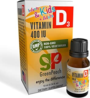 GreenPeach Vitamin D Drops for Kids – Vital 400IU Liquid Vitamin D3 for Healthy Bones, Growth and Immune He...