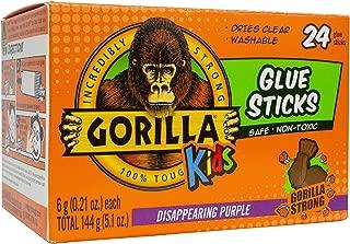 Gorilla Kids Disappearing Purple School Glue Stick, 6 Gram Stick, Bulk Pack of 24