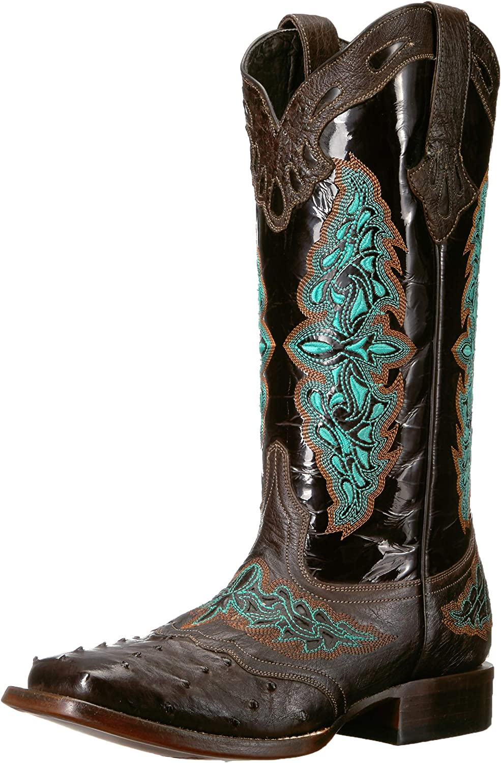 Lucchese Bootmaker Women's Amberlyn Ostrich Embroidery Square Toe Cowboy Boots Western