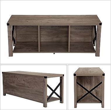 JAXPETY Shoe Storage Bench, Rustic Modern Wood and Metal Entryway Bench, Hallway Organizer w/ 3 Cube, Gray Oak