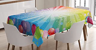 Ambesonne Birthday Tablecloth, Pattern of Striped Backdrop with Balloons Dots Celebration Birthday, Dining Room Kitchen Rectangular Table Cover, 60