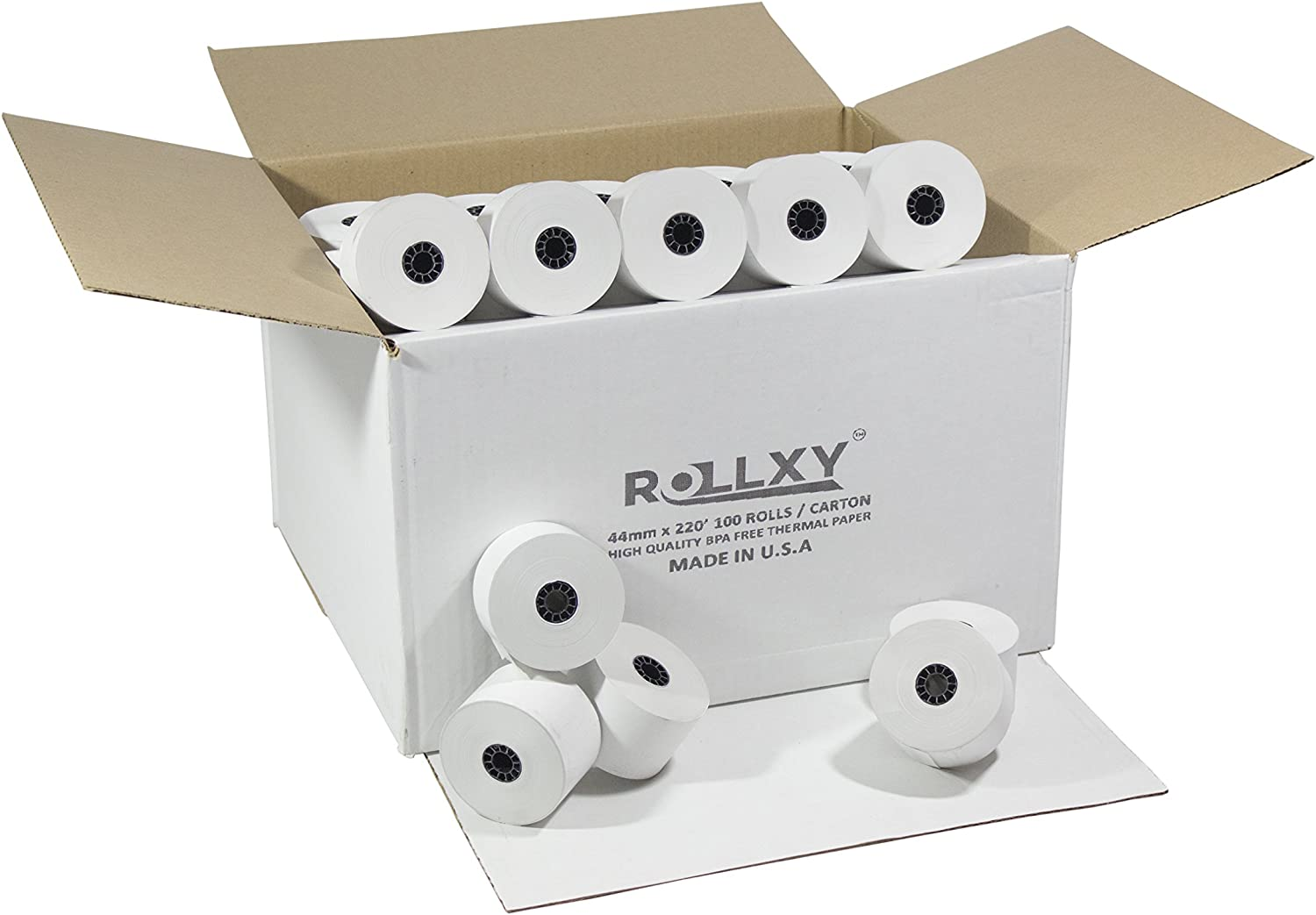 100 Rolls- 44mm Max 42% OFF x 220' Factory outlet XE-A42S Paper Sharp Thermal
