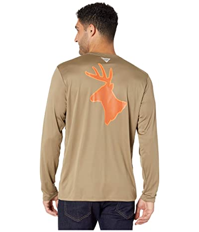 Columbia PHG Terminal Shot Graphic Long Sleeve Shirt (Flax/Whitetail) Men