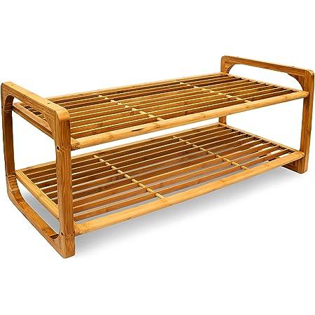 Relaxdays – Soporte para Pasteles (2 Pisos Zapatero/Zapatos Holder Solución De Almacenamiento Decorativo para 6 Pares de Zapatos de bambú, marrón, 75 ...