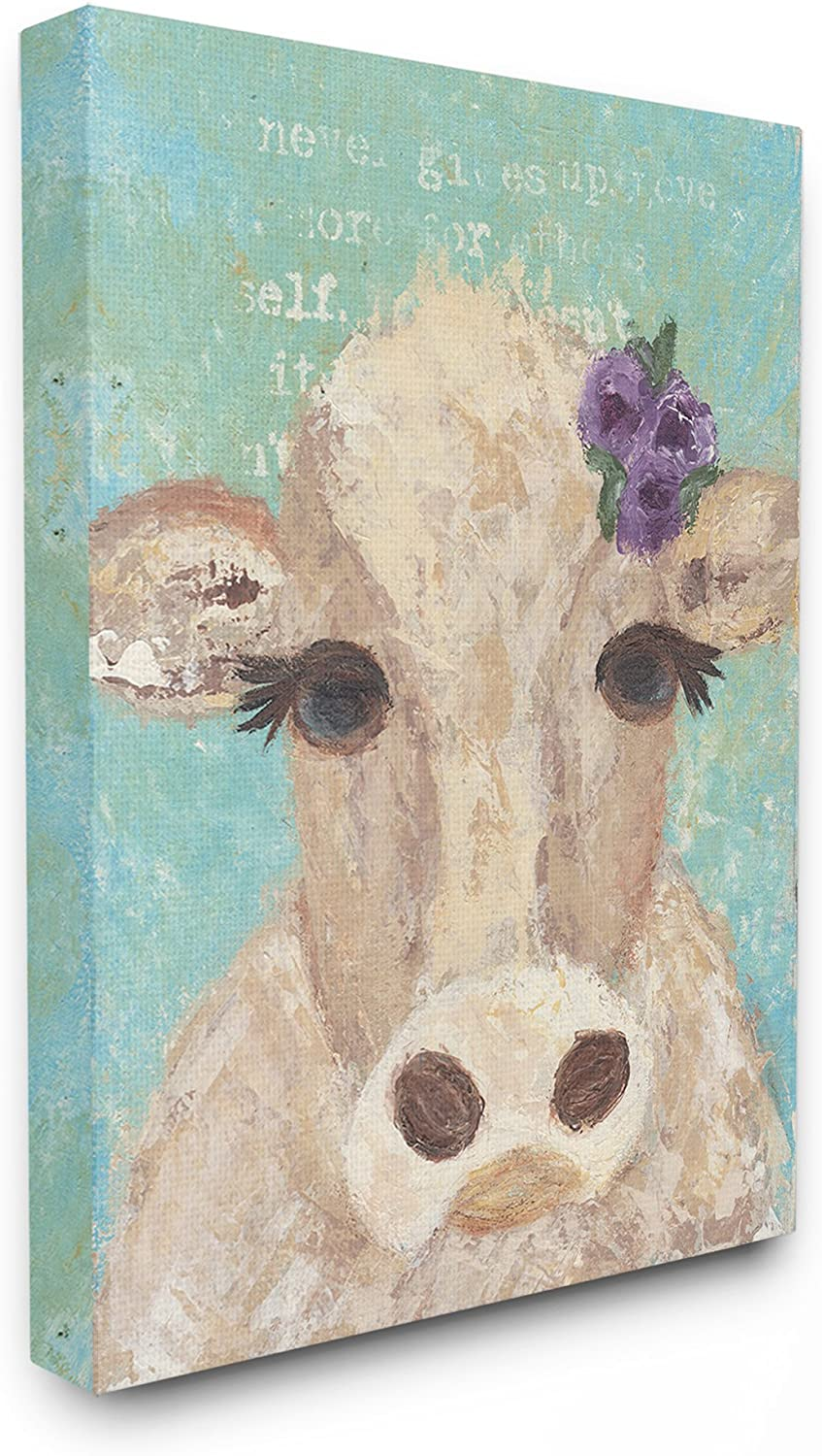 Stupell Industries aap146_cn_16x20 Home Decor Collection Cow Painterly Portrait Stretched Canvas Wall Art, Multicolor