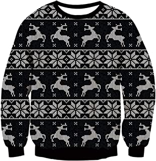 AIDEAONE Unisex Ugly Christmas Sweater Men Women Funny Long Sleeve Pullover Knitted Sweaters Jumper Tops