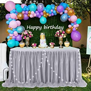 LED Table Skirt Gray Tulle Table Skirt Tutu Table Cloth Skirting for Rectangle or Round Table for Baby Shower Wedding and Birthday Winter Party Decoration (9 ft table skirt)