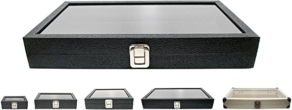 Novel Box Large Glass Top Black Leatherette Metal Clasp Jewelry Display Case 14.75X8.25X2.1 + NB Cleaning Cloth