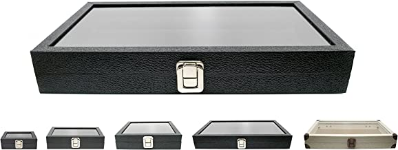 Novel Box Large Glass Top Black Leatherette Metal Clasp Jewelry Display Case 14.75X8.25X2.1