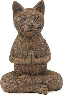 Buddha Groove Meditating Namaste Cat Zen Praying Statue, Multiple Colors (Textured Clay)
