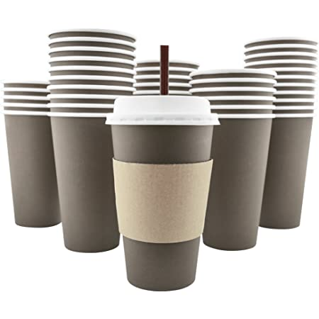 100 Pack - 16 Oz [8, 12, 20] [4 Colors] Disposable Hot Paper Coffee Cups, Lids, Sleeves, Stirring Straws - Mocha Brown
