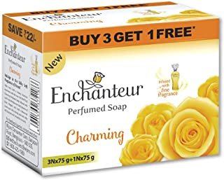 Enchanteur Charming Perfumed Soap, 75g (Buy 3 Get 1) with Roses, Muguets & Cedarwood Extracts