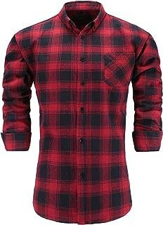 Men's 100% Flannel Cotton Slim Fit Long Sleeve Button Down Plaid Dress Shirt
