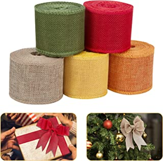 Christmas Ribbon Wired Burlap Ribbon 27 Yards Fall Ribbon, 5 Rolls Wired Ribbon for Gift Wrapping Red Green Orange Ribbon ...