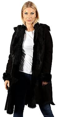 Infinity Women's Luxurious 3/4 Black Suede Toscana Sheepskin Waterfall Coat