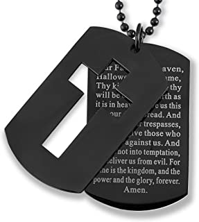 West Coast Jewelry   Crucible Black Plated Stainless Steel Cross and 'Lord's Prayer' Double Dog Tag Pendant - 24