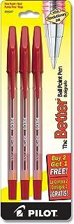 PILOT The Better Ball Point Pen Refillable Ballpoint Stick Pens, Fine Point, Red Ink, 2-Pack (35007)