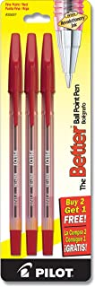 Pilot The Better Ballpoint Stick Pens, Fine Point, 2-Pack, Red Ink (35007)