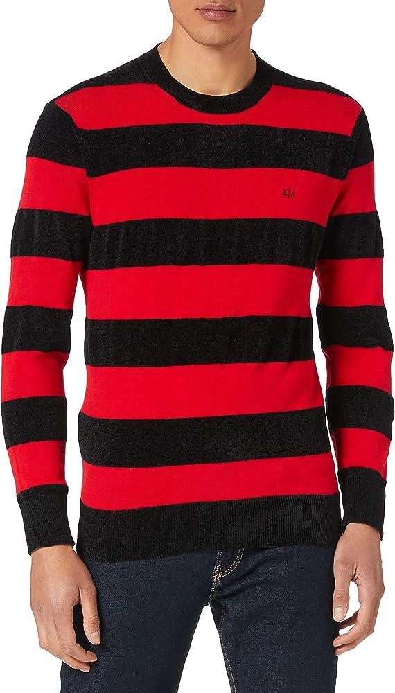 Armani exchange pullover sweater maglione da uomo 60% poliestere 40% cotone 3KZM1A