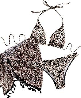 SweatyRocks Women's 3 Piece Bathing Suit Tie Dye Print Triangle Swimsuit Bikini Set with Cover Up Skirt