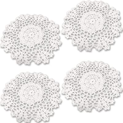 Textiles, Linens Antiques Table Centre Doily White Original Hand Crochet Harmonious Colors
