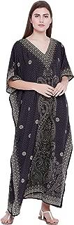 Black Paisley Long Kaftan Kimono Maxi Dress Plus Size Caftan Gown Nightdress Kimono Women