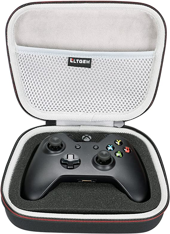 LTGEM EVA Hard Case Travel Carrying Portable Storage Bag for Xbox One/Xbox One S/Xbox One X Controller with Mesh pocket Fits Plug & Cables
