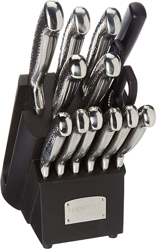 Hampton Forge Argentum 14 Piece Kitchen Knife Block Set Cutlery Block Hammered Rustic Look Handles Stainless Steel Precision Blades Includes Kitchen Shears And Honing Sharpening Steel Silver