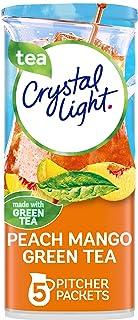 Crystal Light Peach Mango Green Tea Powdered Drink Mix, Low Caffeine, 1.56 oz Can (Pack of 12)
