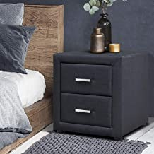 Artiss 2-Drawer Bedside Table, Fabric Upholstered Sofa Side Table, Charcoal