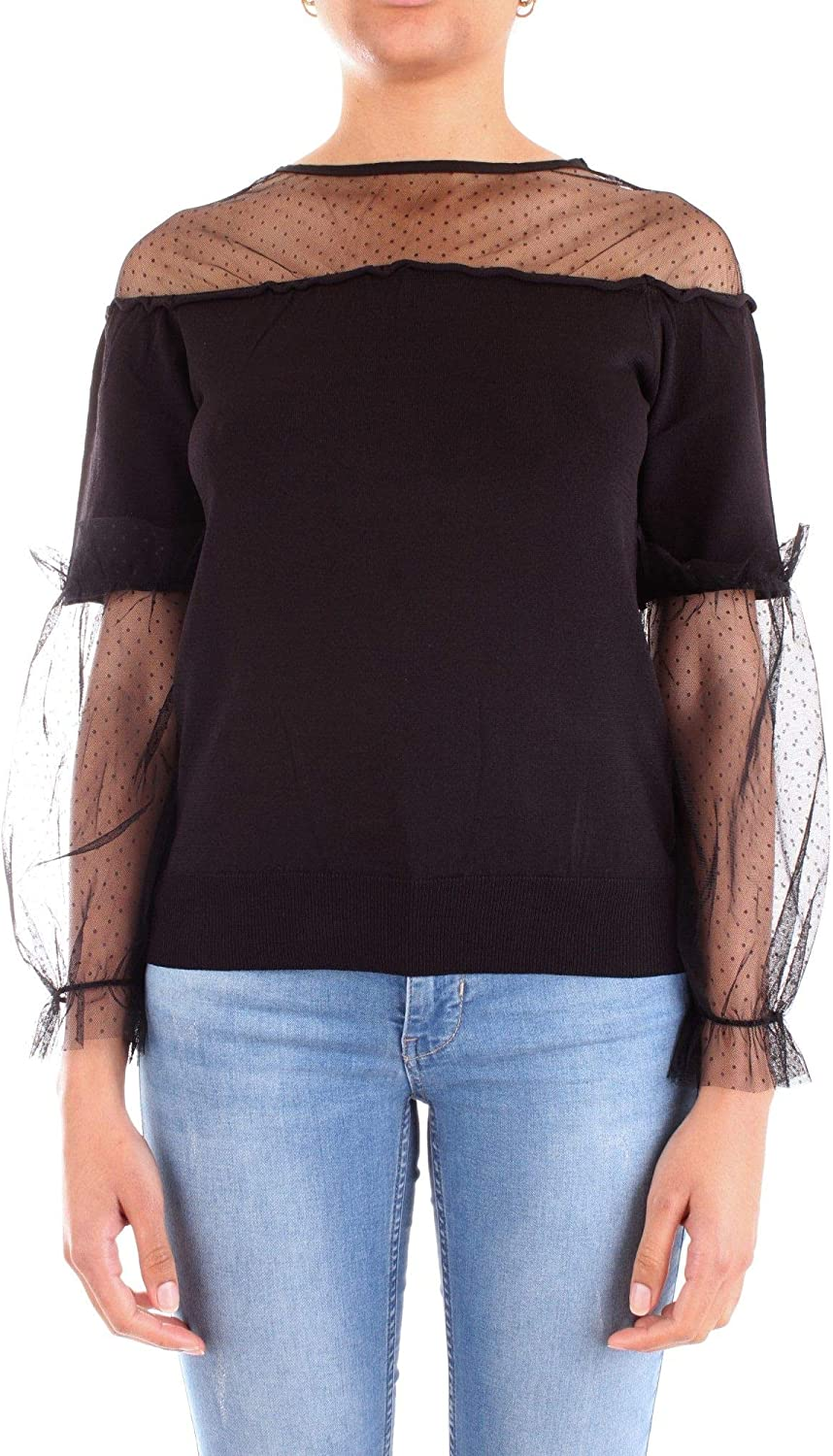 Silvian Heach Women's PGP19192MAblack Black Polyester Blouse