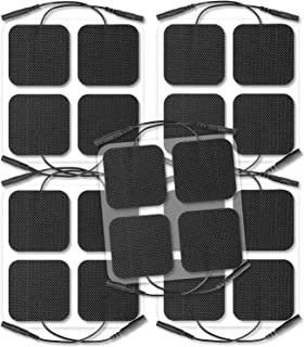 AUVON TENS Unit Pads 2X2 20 Pcs, Replacement Pads Electrode Patches with Upgraded Self-Stick Performance (Black)