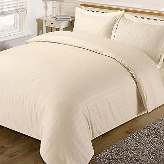 Dreamscene–Juego de ropa de cama de rayas de raso, color crema, King