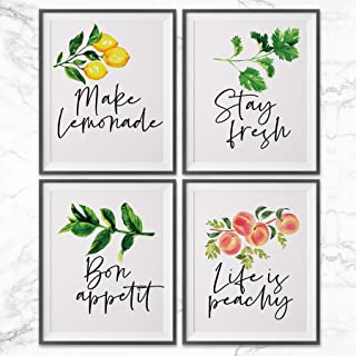 Kitchen Wall Decor Art Prints, Botanical Decorations Above Cabinets, Set of 4 Prints 8×10