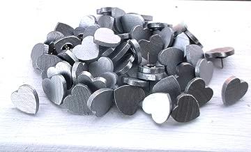 50 Silver Wooden Heart Thumb Tacks Push Pins