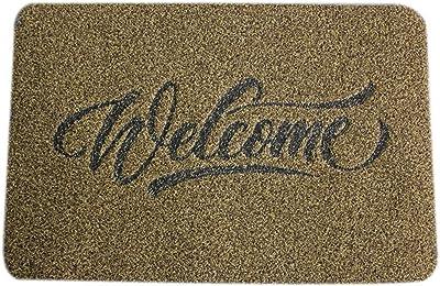Carpet Doormat Entry Door Scrape mud rub Soil pad Foot pad Enter Door Floor mat Hall Carpet Door mat (Color : Gold Hello, Size : 40cmx60cm)